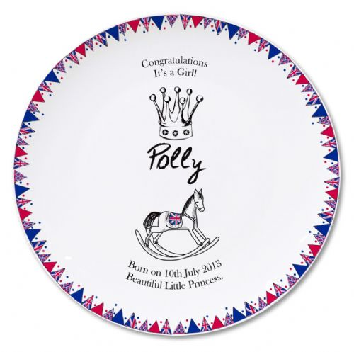 Personalised Royal Baby Bunting Plate.